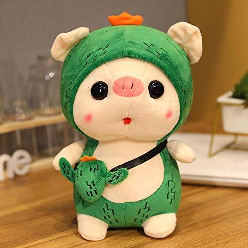 FGBV R 25 / 35cm Kawai Plüsch Schwein Tragen Sie einen Hut Transformation Plüschtier Puppe Weiche Kissen Pelz Puppe Spielzeug 35 cm_Cactus_China Manmiao