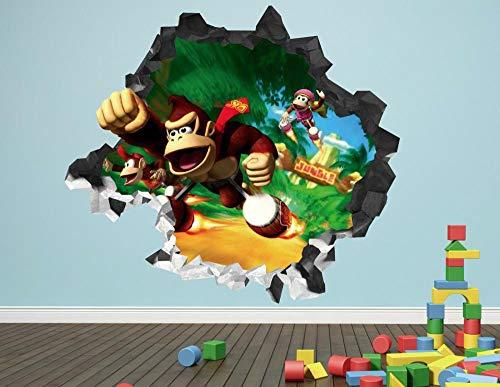 Nicoole Wall Sticker Donkey Kong Bros Smashing Wall Decal 3D Sticker Decoration Vinyl