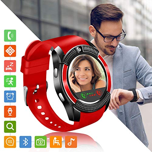Tipmant Smartwatch Orologio Fitness Uomo Donna Smart Watch Android Touch Screen Orologi con SIM Slot Contapassi Calorie Sport Smartband Fitness Activity Tracker per Samsung Huawei Xiaomi LG (rosso)