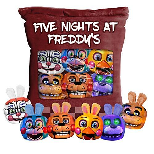 Zhongkaihua Five Nights At Freddys Almohada Fnaf Snack Almohada con 6 muñecos de felpa Fnaf 50 x 36 cm Cojín suave para muñeca para niños y niñas regalo