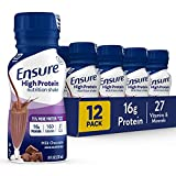 Ensure High Protein Nutritional Shake with 16g of High-Quality Protein, Ready-to-Drink Meal Replacement Shakes, Low Fat, Milk Chocolate, 8 fl oz, 12 Count by Abbott Nutrition