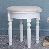 IWELL Round Vanity Stool with Rubber Wood Leg, Country Style Padded Dressing Makeup Stool, Capacity 330LBs, Piano Seat Chair Bench in Bedroom, Bathroom, Easy Assembly, White ASZD004W