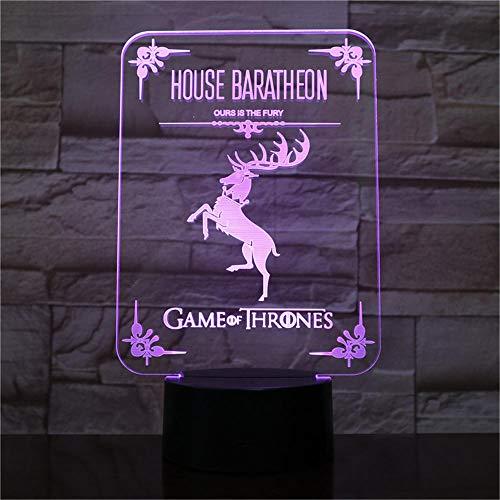 Luz nocturna de ilusión 3D para niños, regalo de cumpleaños, casa Baratheon, lámpara de escritorio con 16 colores cambiantes, luz LED 3D, luz de noche, luz LED, toque remoto y 16 colores cambiables