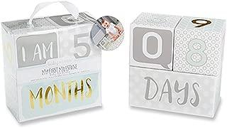 Baby Aspen My First Milestone Age Blocks, White/Grey/Mint/Gold