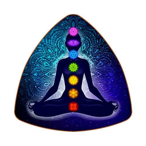 Meditating Woman In Lotus Yoga Pose Colorful Chakras and Aura Glow Mandala Juego de 6 Posavasos para Bebidas para el hogar, Taza, Botella, Taza, café, Cerveza
