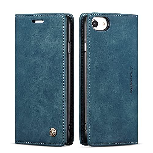 QLTYPRI Hülle für iPhone 7 8 iPhone SE 2020, Vintage Dünne Handyhülle mit Kartenfach Geld Slot Ständer PU Ledertasche TPU Bumper Flip Schutzhülle Kompatibel mit iPhone 7 8 SE 2020 - Blau