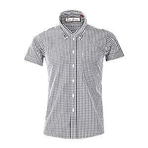 "Retro Seventy2-ボタン付き襟付きメンズ半袖シャツ、60年代および70年代スタイルの黒と白のS /胸36/38"""
