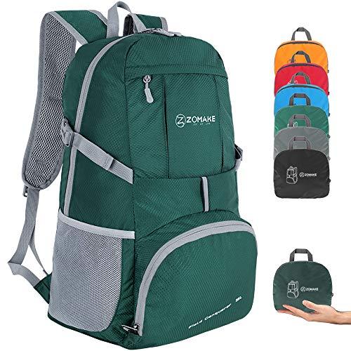 ZOMAKE Zaino Ripiegabile 35L, Zaino Leggero Pieghevole - Zainetto Impermeabile per Uomo Donna Hiking Viaggio Trekking Città Sportivo (Verde)