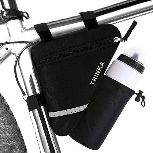 QitinDasen Premium Bolso Triángulo de Bicicleta, con Bolsa Botella Agua, Bolsa de Marco de Tubo Delantero de Bicicleta, Bolsa Triangular Impermeable (Negro)