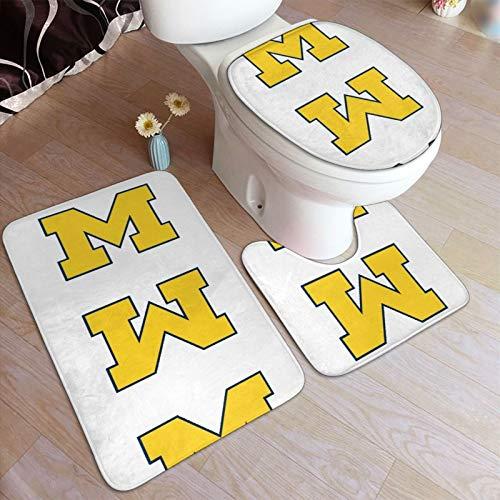 M-Ichigan W-Olverines - Juego de alfombrillas de baño y pedestal, antideslizantes, absorbentes de agua, poliéster, para baño, bañera, ducha, inodoro, lavable a máquina, 3 piezas