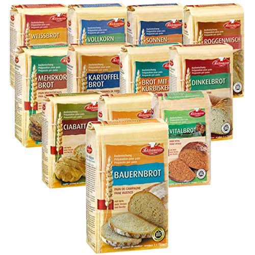 BIELMEIER KÜCHENMEISTER Brotbackmischung 12-teiliges Kennenlern-Set á 1000 g made in Germany