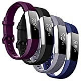 SZBAMI 4 Packs Bands Compatible with Fitbit Alta/Alta HR for Women Man,Soft Waterproof Alta Straps Replacement Wristband Accessory Colorful for Alta Smart Watch Small Large