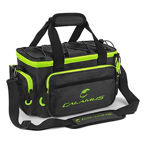 Calamus Fishing Tackle Bags - Fishing Bags for Saltwater or Freshwater Fishing - Rip-Stop PE - Padded Shoulder Strap - Pliers Storage - Green