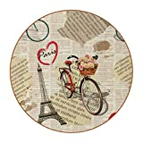 París Vintage Poster Super Fibra Cuero Bebidas Coaster Durable Set de 6 Posavasos Redondo para Salón Cocina Bar Decoración