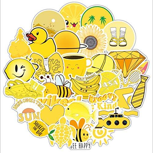 PMSMT 50 Uds,Amarillo, pequeño, Fresco, Graffiti, Impermeable, monopatín, Maleta de Viaje, teléfono, portátil, Pegatinas para Equipaje, Lindos Juguetes para niños y niñas