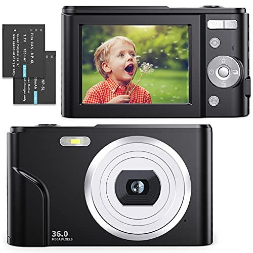 Cámara Digital compacta 1080P HD 36 MP Vlogging Cámara con 16X Zoom Digital, FamBrow Video Cámara 2.4' LCD Foto Cámara Recargable de Bolsillo para Estudiantes, niños, Adultos, Principiantes (Negro)