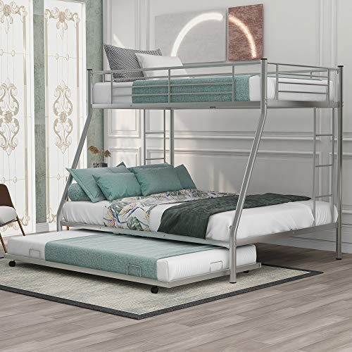 Metal Bunk Beds Twin Over Full Size with 2 Ladder and Trundle Bed for Kids Teens Adults, (Silver)
