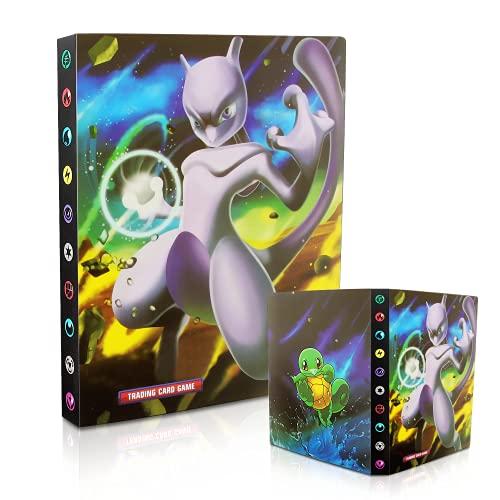 Esportic Pokemon Sammelalbum, Pokemon Karten Album, Pokemon Karten Halter, Pokemon Karten Halter Ordner Buch GX EX Trainer Sammelkartenalben,30 Seiten 240 Karten Kapazität (Mew-Zwei)