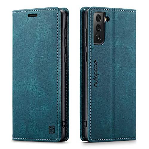 GoodcAcy Etui Coque pour Samsung Galaxy S21 Ultra Protection Housse en Cuir Portefeuille Livre, Premium Rétro Magnétique Housse Flip Case pour Samsung Galaxy S21 Ultra,Bleu Vert