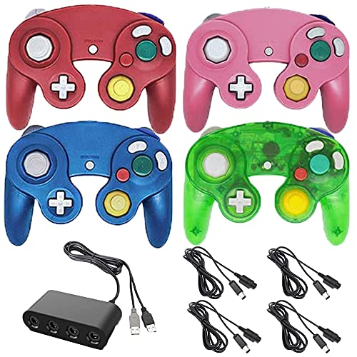 4 Controllers for Gamecube,with 4 Extension Cables and 4-Port USB Adapter for Switch PC Wii U Console (BRGP)