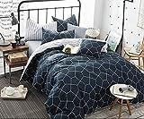 AShanlan Set di biancheria da letto 200 x 220 cm, motivo geometrico, 3 pezzi, blu e bianco a righe, moderna, double-face, 100% microfibra, con chiusura lampo, federe 80 x 80 cm, blu navy