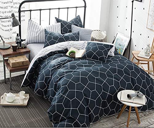 AShanlan Bettwäsche Set 135x200 4teilig Blau Weiß Bettbezüge Modern Geometrisches Sechseck Muster Gestreift Wendebettwäsche 100% Mikrofaser mit Reißverschluss Kissenbezug 80x80 Marineblau