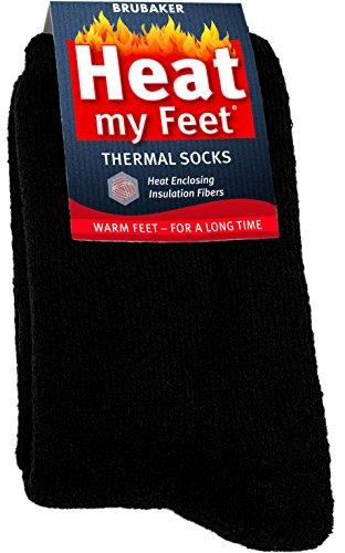 2-Pack BRUBAKER Heat my Feet Thermal Socks - Black - Size: 9-11.5