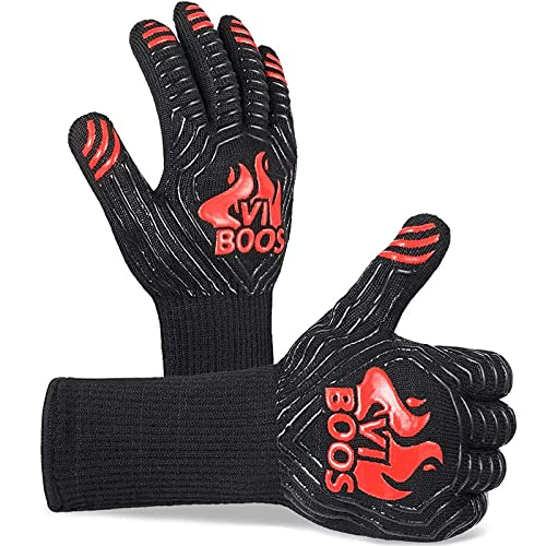 BBQ Gloves, 1472℉ Extreme Heat Resistant Grilling Gloves for Cooking, Baking and for Smoker,...