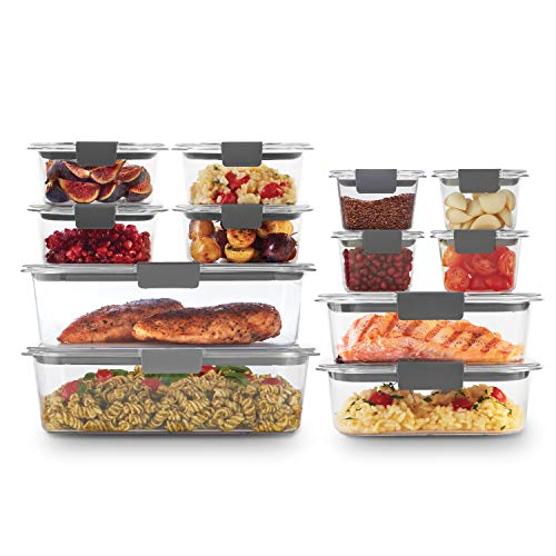 Rubbermaid Brilliance Storage 24Piece Plastic Lids | BPA Free Leak Proof Food Container Clear