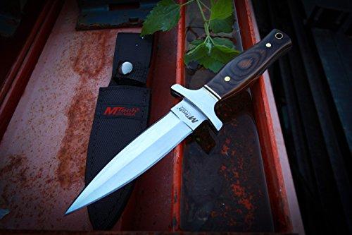 MTECH USA MT-20-03 Fixed Blade Knife, Titanium Double Edge Blade, Pakkawood Handle, 9-Inch Overall