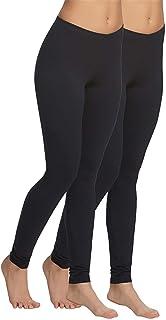 Jakqo Women's Cotton Plain Ankle Length Legging (Free Size, Pack of 2, Black, Black)
