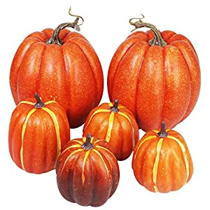 Winlyn Package of 6 Assorted Size Harvest Artificial Pumpkins for Halloween, Fall and Thanksgiving Decorating
