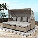 MemaRo 4-Pieces Rattan Patio Furniture Set Outdoor Daybed with Retractable Canopy Patio Set,UV-Proof Resin Wicker Patio Sofa Set with Cushions,Pillows,and Lifting Table(Brown)