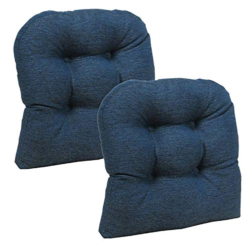 Klear Vu Omega Universal Tufted Extra Large No Slip Dining Chair Pads, 17 x 17 x 3 Inch, 2 Pack, Indigo