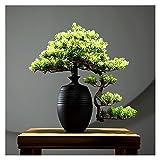 bonsái artificial 11 pulgadas de árboles bonsáis artificiales, florero grande flor de macetas, decoración de simulación, hermosa planta de pino bonsai, para decoración de pantalla de escritorio para d