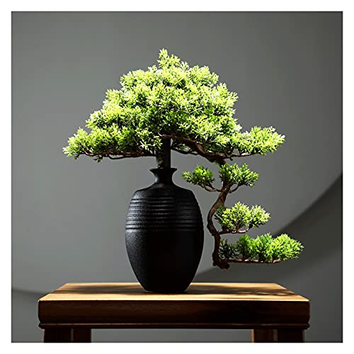 Bonsai Decorative 11 pulgadas de árboles bonsáis artificiales, florero grande flor de macetas, decoración de simulación, hermosa planta de pino bonsai, para decoración de pantalla de escritorio Bonsai