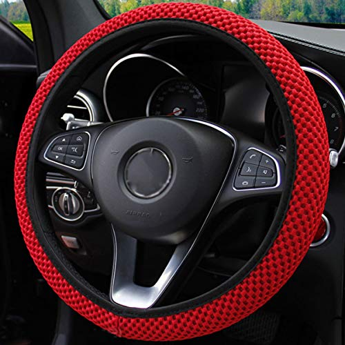 Elastic Stretch Steering Wheel Cover,Warm in Winter and Cool in Summer, Universal 15 inch Automotive Steering Wheel Cover, Microfiber Breathable Ice Silk, Anti-Slip, Odorless, Easy Carry,Red (Red)