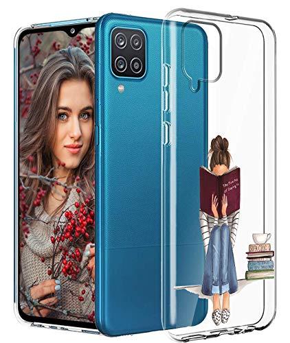Compatible con Samsung Galaxy A12, funda original transparente flexible de silicona con patrón de animales Galaxy A12, funda fina y fina, 360 grados, antigolpes, carcasa protectora para Samsung A12