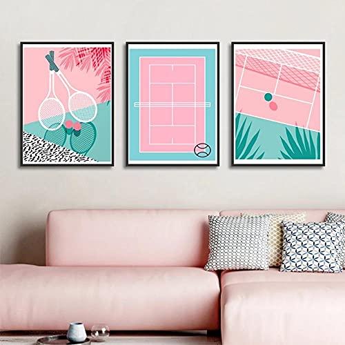 DFGRHG Estilo nórdico Rosa Azul Sencillez Dibujos Animados Pintura en Lienzo Tenis Cancha de Tenis Raqueta Póster Sala de Estar Dormitorio Decoración para el hogar -40x60cmx3 (sin Marco)