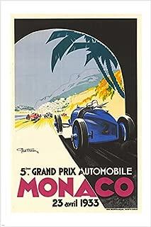 HSE Racing car Grand Prix Monaco 1933 Vintage ad Poster Classic Sporty 24X36