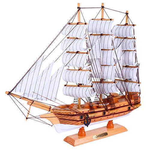 Nbrand - Modelo de barco de vela, madera, modelo de barco de vela, decoración, hecho a mano, náutico, decoración de mesa, accesorios de fotos para la decoración del hogar