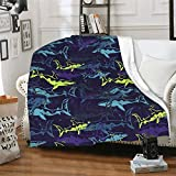 CUAJH Shark Blanket for Adult Kids 50'x60', Lightweight Soft Flannel Fleece Throw Blanket for Bed Couch Sofa Chair Office