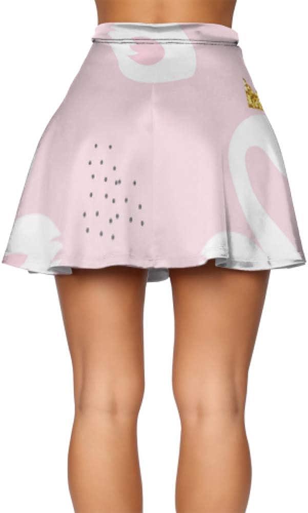 Ladies Flared Skirt Beautiful White Swans and Water Mini Short Skirt Women's Basic Casual Basic Skater Skirt S-XL