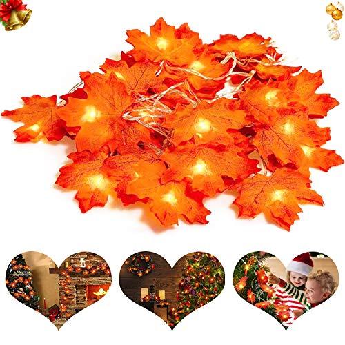 Gxhong Luces de Cuerda de Hoja de Arce,9.84 pies / 20 LED Luz de Cuerda de Guirnalda de otoño, luz de Cuerda con batería para acción de Gracias, Navidad, Decoraciones de Fiesta (batería no incluida)