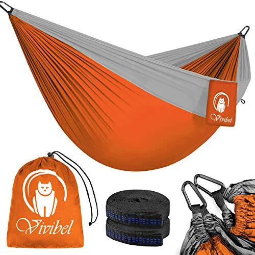 Vivibel Reise Camping Hängematte, Outdoor Hammock 300 KG Traglast(275 x 140 cm) Atmungsaktiv, Schnelltrocknendes Nylon Spinning-Fallschirmmaterial | 2 x Premium Karabiner, 2 x Nylon-Schlingen