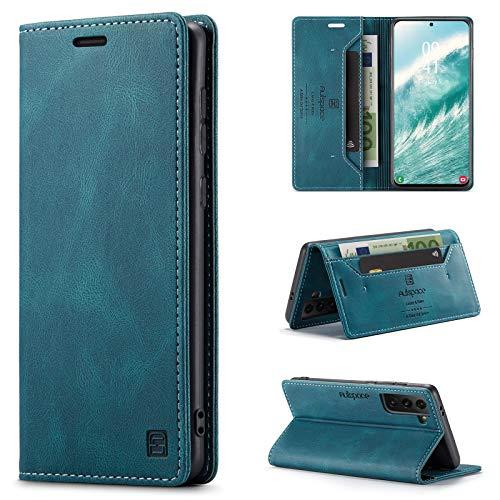 uslion Hülle für Samsung Galaxy S21 Plus RFID SchutzHandyhülle Kartenfach Geld Slot Ständer Flip Hülle Magnetisch Klapphülle Lederhülle Schutzhülle für Samsung Galaxy S21 Plus - Blau