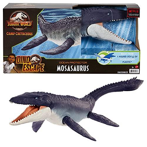 Jurassic World Mosasaurus defensor del océano Dinosaurio articulado hecho con plastico reciclado, figura de juguete para niños (Mattel HCB04)