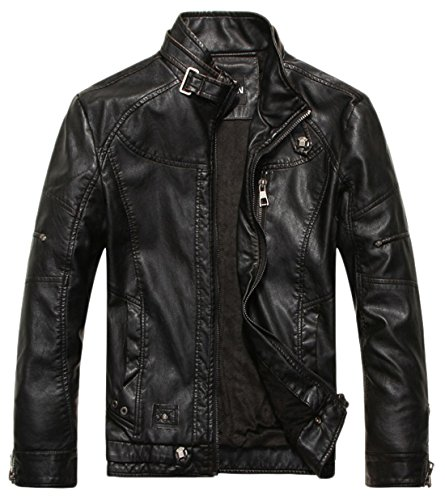 chouyatou Men's Vintage Stand Collar Pu Leather Jacket (Small, Black)