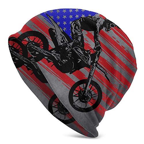 LREFON Gorros de Punto Suaves para Adultos con gráfico de Bandera Americana de Motocross
