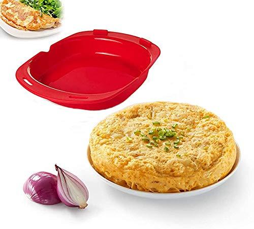 2 pieza Recipiente para cocinar tortillas francesas en microondas,Molde para tortilla española, color rojo